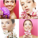 Collage of several photos for beauty industry Royalty Free Stock Photo