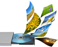 Collage of several photos and cd or dvdrom Royalty Free Stock Image