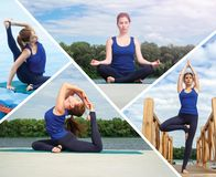 Collage of several photos on the topic of yoga Royalty Free Stock Photography