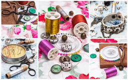 Collage with sewing accessories Stock Images