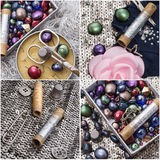 Collage with sewing supplies Royalty Free Stock Photos
