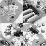 Collage with sewing tools Royalty Free Stock Images