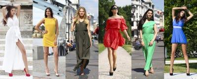 Collage sex kvinnor i färgklänning royaltyfri foto