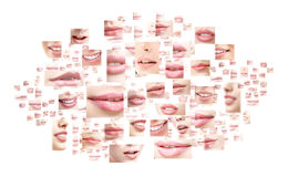 Collage of sexy female lips with colorful lipstick Royalty Free Stock Image