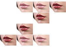 Collage of sexy female lips with colorful lipstick Royalty Free Stock Photo