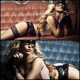 Collage of a sexy woman in venetian mask on sofa in erotic lingerie. Royalty Free Stock Images