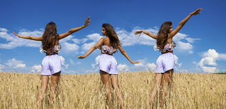 Collage, young women in blue shorts in a wheat golden field Stock Images