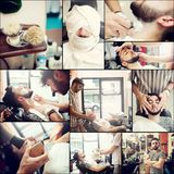 Collage of shaving beard in a old style barber shop. Royalty Free Stock Image