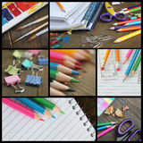 Collage of shools items Royalty Free Stock Images