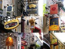 Collage of shop signs at Quebec Royalty Free Stock Image