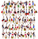 Collage Shopping People Royalty Free Stock Images
