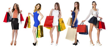 Collage Shopping People. Full length portrait of a beautiful young women posing with shopping bags, isolated on white background Stock Images
