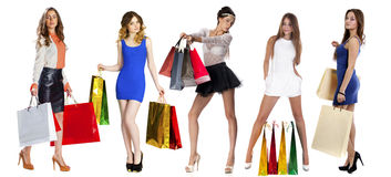Collage Shopping People Royalty Free Stock Image