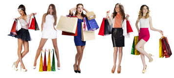 Collage Shopping People. Full length portrait of a beautiful young women posing with shopping bags, isolated on white background Royalty Free Stock Photography