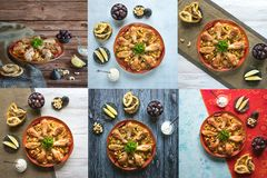 Collage showing Arabic traditional food bowls Kabsa with meat. Collage showing Arabic traditional food bowls Kabsa with meat royalty free stock photography