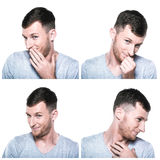 Collage of shy, modest,blushful face expressions Stock Image