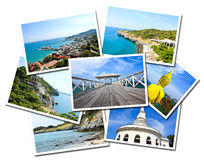 Collage of Sichang Islands ,Chonburi, Thailand postcards. Isolated on white background Royalty Free Stock Images