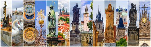 Collage of the sights of Prague. Czech Republic stock photography