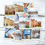 Collage of sights in Warsaw Stock Photography