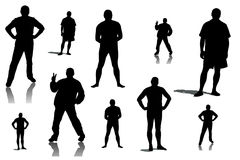 Collage of silhouettes of men Stock Photo