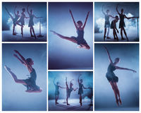 The collage from images of young ballerinas stretching on the bar Stock Photography