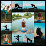 The collage from silhouettes of young woman practicing yoga Stock Photography