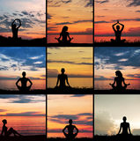 Collage of silhouettes of young women meditating Royalty Free Stock Images