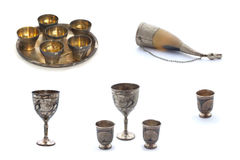 Collage of silver wineglasses on white stock photo