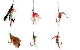 collage of six fishhooks Stock Photo