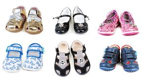 Collage from six pairs baby footwear Stock Images