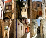 Collage of photos from Rhodes, old town Royalty Free Stock Photos