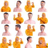Collage of sixteen pictures isolated: close up portrait of smiling and fooling around animator in various theater roles. Emotional. Man as a lion - with and Royalty Free Stock Photos