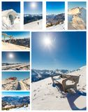 Collage of ski resort Bad Gastein,cableway in Austria, Land Salzburg Royalty Free Stock Photos