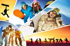Collage ski skiers snowboarders winter sports. Collage of five ski fun photos with lots ofskiers and snowboarders having fun Stock Image