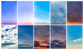 Collage of sky photos, beautiful set stock images