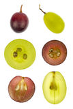 Collage of sliced red and green grapes Royalty Free Stock Image