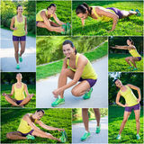 Collage of slim beautiful sporty woman doing different exercises Stock Photography