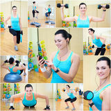 Collage of slim beautiful sporty woman doing different exercises Royalty Free Stock Photos