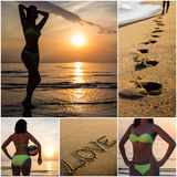 Collage of slim woman on summer beach Stock Photos