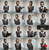 Collage of a smart phone addicted man Royalty Free Stock Photography