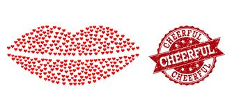 Valentine Heart Collage of Smile Lips Icon and Grunge Stamp vector illustration