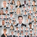 Collage Of Smiling Businesspeople Stock Photography