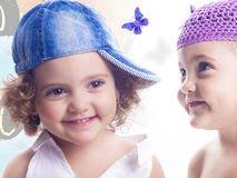 Collage of smiling female child Stock Images