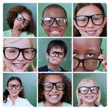 Collage of smiling pupils Royalty Free Stock Photos