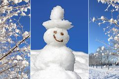 Collage - smiling snowman and snow covered branches Royalty Free Stock Photo