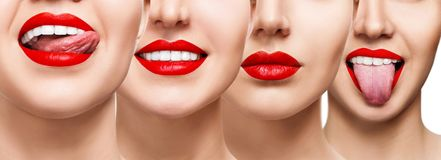 Collage of smiling woman mouth with healthy teeth. And bright red lips. Over white background stock photos