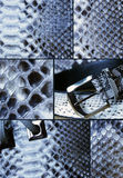 Collage with snake skin. Belt and bag Royalty Free Stock Photography