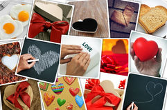 Collage of snapshots of hearts and heart-shaped things shot by m Stock Image