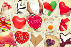Collage of snapshots of hearts and heart-shaped things shot by m Stock Photos