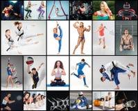 Collage sobre el diferente tipo de deportes fotos de archivo libres de regalías